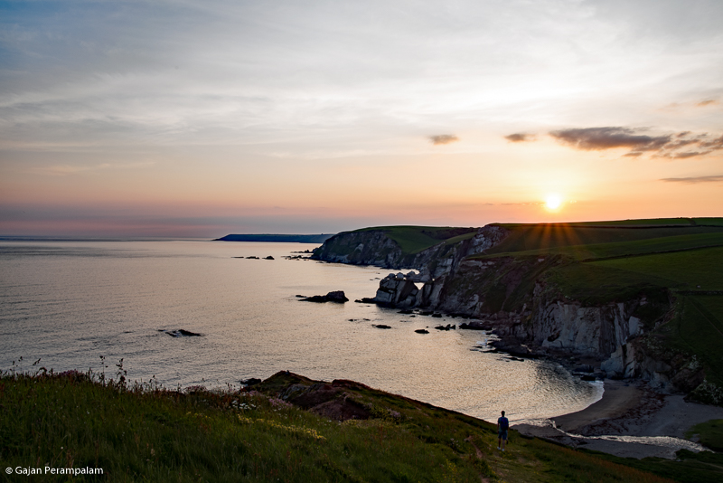 Sunset over Ayrmer Cove, Devon, United Kingdom