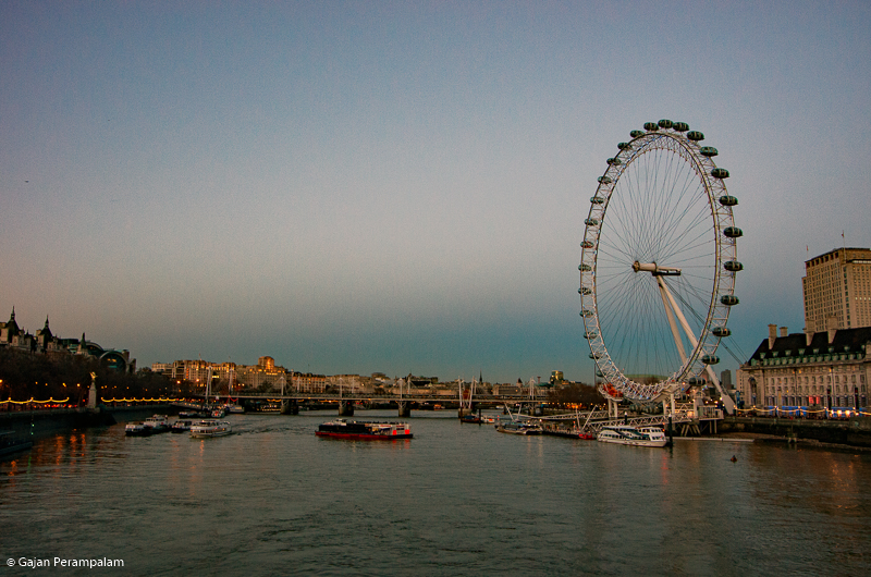 River Thames and London Eye at Dusk, London, United Kingdom