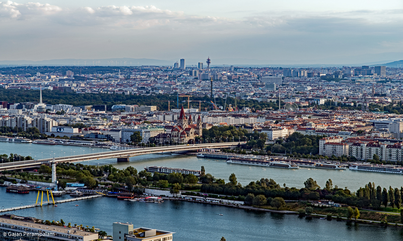 Vienna City from Danube Tower, Vienna, Austria