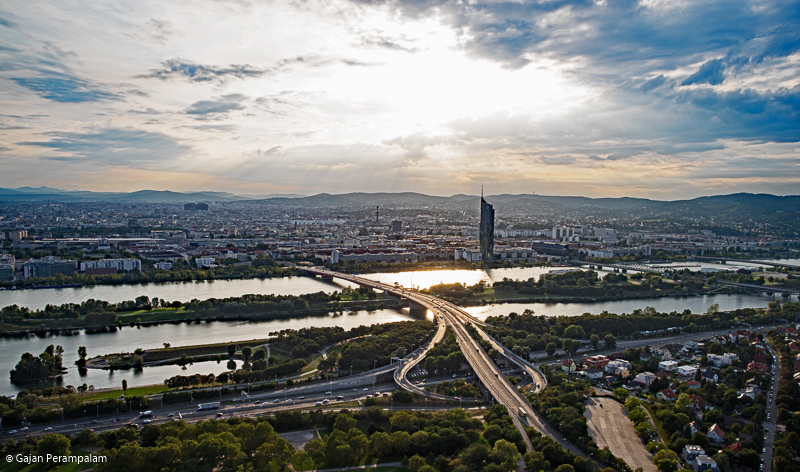 Vienna and Danube River, A view from Danube Tower, Austria
